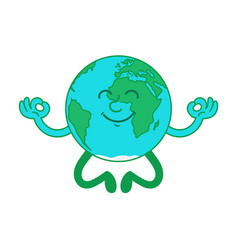 cartoon character earth in lotus position vector image