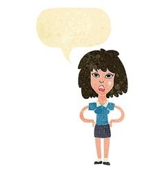 Cartoon tough woman with speech bubble vector