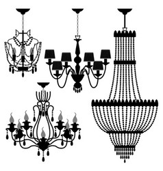 chandelier black silhouette a set of chandelier vector image