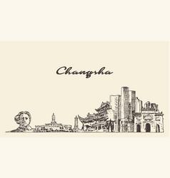 Changsha skyline hunan city china sketch vector