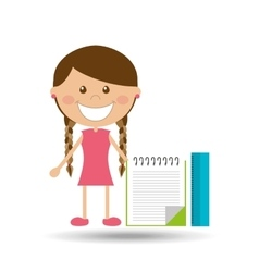 Cheerful girl study notebook ruler design vector