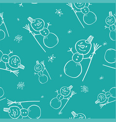 christmas doodle seamless pattern with hand drawn vector image