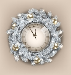 christmas wreath with clock and golden balls vector image