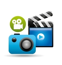 Clapper camera video player concept design vector
