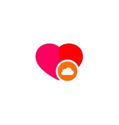 cloud love logo template design vector image