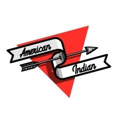 Color vintage american indian emblem vector