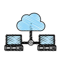 Computers sharing cloud vector