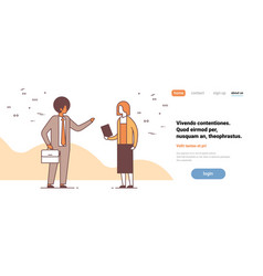 couple man woman discussing on business meeting vector image