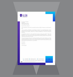 Creative letterhead with blue and purple gradient vector