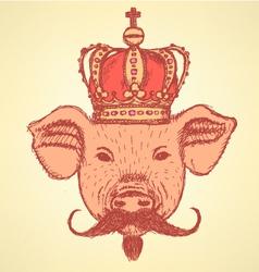 Crown Pig Mustache vector