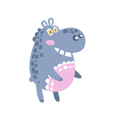 cute cartoon hippo character standing side view vector image
