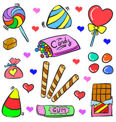 Doodle candy various colorful style vector