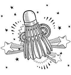 Doodle pop shuttlecock vector