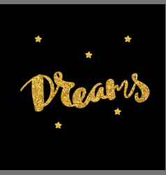 Dreams lettering hand drawn vector