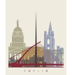 Dublin skyline poster vector image