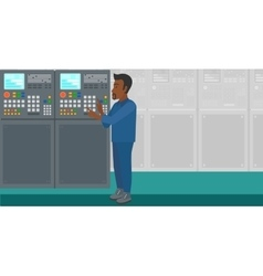 Engineer standing near control panel vector image