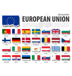 european union flag eu and membership torn vector image