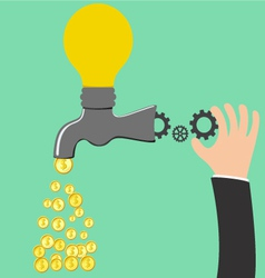 Faucet Idea process to be money vector image