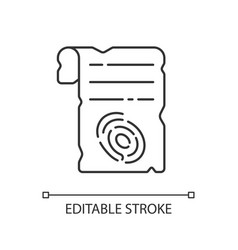 fingerprints on piece paper linear icon vector image