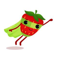 Flat cartoon superhero strawberry in green cape vector