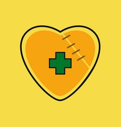 Flat icon design collection sewn heart vector