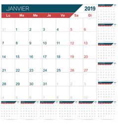 French calendar 2019 vector