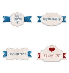 Friendship Day greeting Banners and Ribbons Set vector