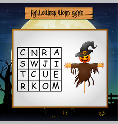 Game halloween find the word of scarecrow vector