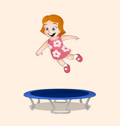 Girl jumping on trampoline vector