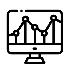 Graph on computer monitor financial icon vector