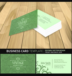 Green business card template vintage design with vector