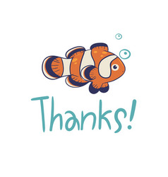 greeting card with clown fish and inscription vector image