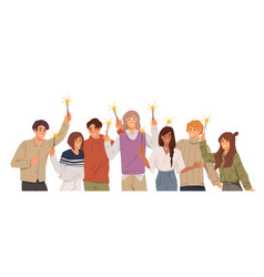 group young people holding burning sparklers on vector image