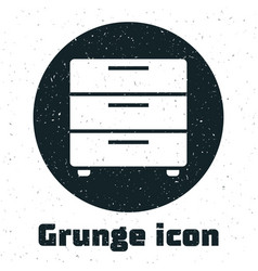 Grunge furniture nightstand icon isolated on white vector