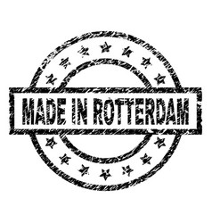 Grunge textured made in rotterdam stamp seal vector