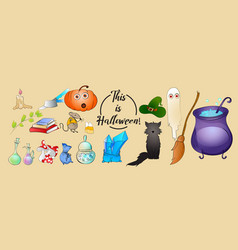 halloween cartoon icons pumpkin black cat vector image
