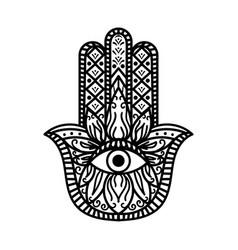 Hamsa fatima hand tradition amulet monochrome vector