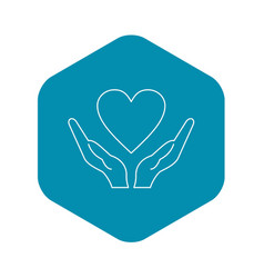 hands holding heart icon outline style vector image