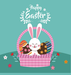 Happy easter bunny in basket egg vector