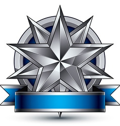 Heraldic template with polygonal silver star vector