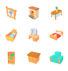 Home environment icons set cartoon style vector