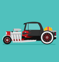 Hotrod flat old school race car vector