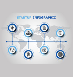 Infographic design with startup icons vector
