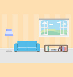 Interior living room with furniture and window and vector