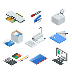 Isometric set office tools icons vector