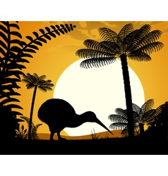Kiwi bird at sunset vector