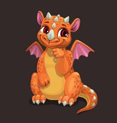 Little cute orange dragon fantasy animal funny vector