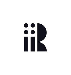 logo letter r black and white vector image