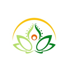 Lotus flower yoga beauty logo vector