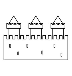 medieval fortification icon outline style vector image